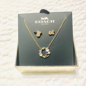 NWT Coach Boxed Pendant  Necklace and Earrings Set